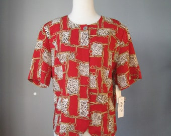 Chain Print Blouse / Vtg 90s / Red Black White short sleeve Baroque Chain print blouse