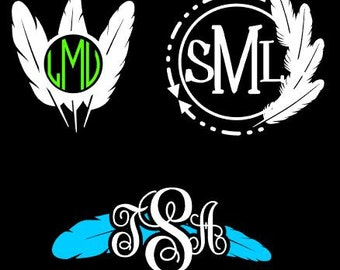 Feather Monogram Southest Aztec Feather Custom Decal