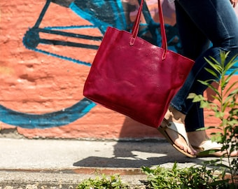 Leather Bag, Leather Tote Bag,  Leather Shoulder Bag, Leather Handbag, Red Shoulder Bag, Floto Piazza Tote (5591RED)