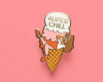 Super Chill Hard Enamel Pin | Ice Cream Pin, Lapel Pin, food pin, cool girl, backpack pins, pingame, ice cream socialite, sweet pin