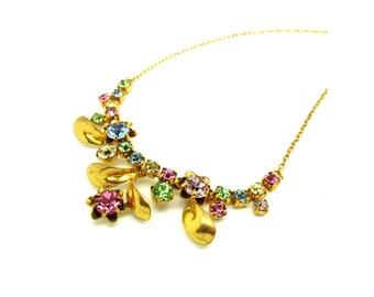 Vintage 1950s Flower Necklace | Vintage Necklace | Rhinestone Necklace | 1950s Jewelry | Vintage Necklace | Pastel Necklace | Glass Necklace