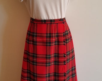 Vintage Red Tartan Midi Wrap Skirt Size Small Medium