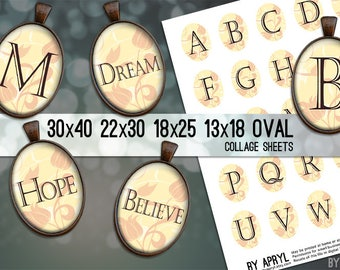 Digital Collage Sheet 30x40 22x30 18x25 13x18 Oval Monogram Initial Inspirational Images for Glass Resin Pendants Cameos Paper Craft