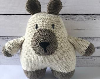 Crochet toy, Reginald the Bear, lavender pouch inside