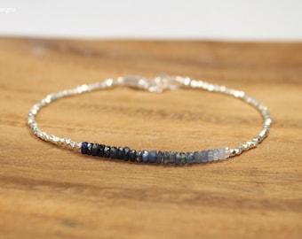 Blue Sapphire Ombre Bracelet, Hill Tribe Beads, Fine Silver, Blue Sapphire Jewelry, September Birthstone. Gemstone Bracelet