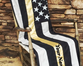 Dispatchet Gift - Thin Gold Line - Thin Gold Line Quilt - Police Dispatcher - 911 Operator - Police Dispatcher Christmas Gift- First Respond