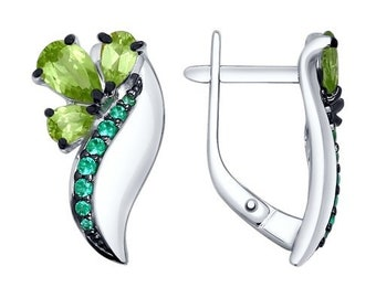 Sterling Silver 925 Earrings Peridot and CZ - Green