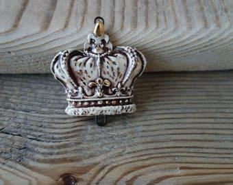 Ceramic connector -pendant Crown.Ceramic handmade
