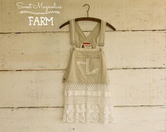 Dentelle ancienne Récupérée salopette Top chemise Blouse - tunique-taille Sm Boho - Med - vêtements - Pull Over - Prairie Shabby Chic vêtements