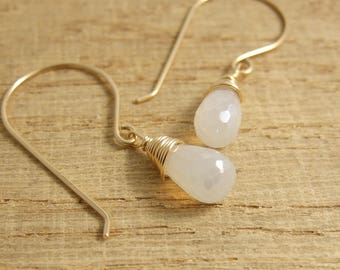Earrings with Pearl Chalcedony Teardrop Beads Wire Wrapped with Gold Filled Wire GHE-6