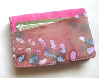 Business Card Holder Mini Wallet- Bifold Inside Outside Wallet in Pink Batik  and Mint Green Butterfly Fabric