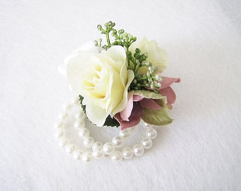 Rose Wrist Corsages, Pearl Wrist Corsage, Bridesmaid Wrist Corsage, Rose Wedding Bracelet, Wedding Bangle