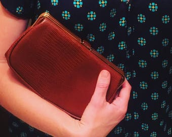 Vintage Leather Embossed Clutch