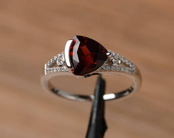 natural garnet ring promise engagement ring triangle cut sterling silver ring red gemstone January birthstone ring