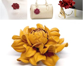 Real Leather Rose -> Make Your Own Custom Gift Yellow Flower Bag Charm/Rose Brooch/Table Purse Folding Hanger Holder Tabletop Hook & Charm
