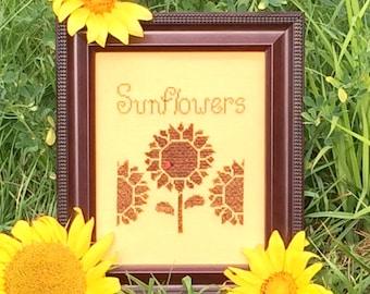 Flowers 2 Flowers Sunflowers Cross Stitch Pattern #031