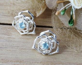 925 Blue Topaz Earrings, Silver Topaz Studs, Topaz Rose Design Earrings, Topaz Jewelry, Topaz Jewellery, November Birthstone, Post Earrings