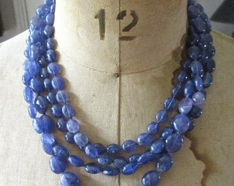 Vintage Four Strand Oval Beaded Necklace Cornflower Blue Amethyst
