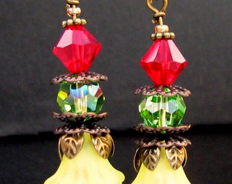 Tropical Beauty Vintage Lucite Earrings Retro Glam