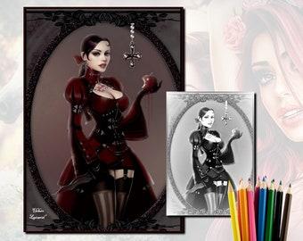Coloring adult Snowwhite Gothic - grey - download - coloring Page - Eledwen Lancaeriel Art