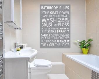 Bathroom Rules Wall Picture Bathroom Wall Art Canvas Print Grey A1/A2/A3/A4