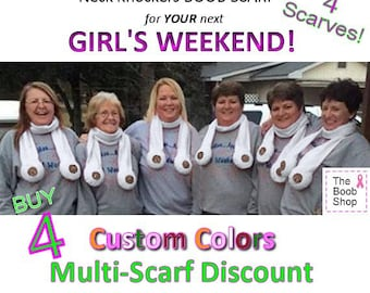 4 BOOB SCARVES - 10% off Multi Boob Scarf order. Team accessories, Breast Cancer awareness, Dirty Santa Gifts, Girls weekend, Bachelor