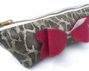 Colorful Leather Makeup Bag, Leather Pouch with Bow, Small Leather Zip Pouch, Leather Cosmetic Bag, Leather Bag with Bow