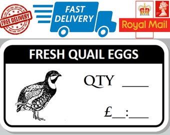 48 x Fresh Quail Egg Box Stickers With Quantity and Price Freshly Laid eggs
