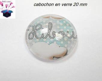 1 cabochon clear 20mm pattern owls theme