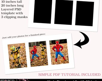Storyboard Template 2 - 10x20 Inches, layered photoshop template for professional photographers, digital instant download, PSD file