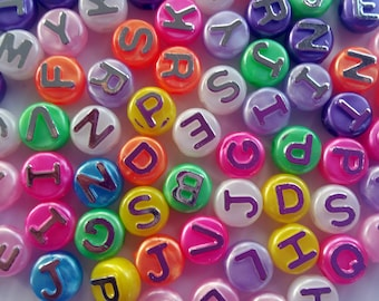 Letter Beads Jewelry Supplies, Small and Large Beads with Letters, Lot of Letter Beads, Jewelry Beads