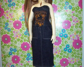 BJD Clothes - Black Corset with Necklace for SD or MSD