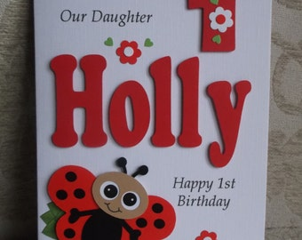 Personalised 1st, 2nd Any Age Ladybird Birthday Card Daughter,Granddaughter, God Daughter Niece etc