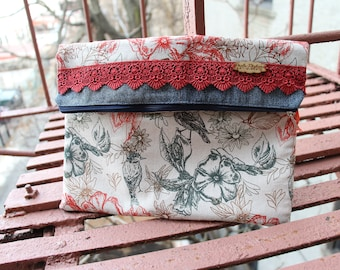 Fold Over Clutch. Recycled Fabric Clutch. Salvaged Fabric Clutch. Colorful Clutch. Vegan Clutch. Cute Purse.