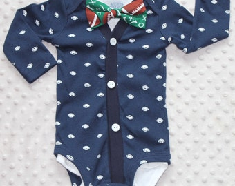 Baby Boy Cardigan and Bow Tie Set, Navy Blue, Football Baby Suit,, Trendy Baby Boy Outfit, Baby Boy Football Outfit, Baby Boy Clothes