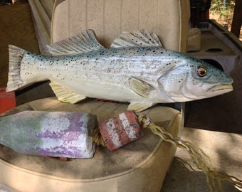 "Weakfish 25"" chainsaw wood faux taxidermy carving saltwater sport fish sculpture woodworking nautical original indoor/outdoor wall art"