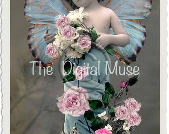 The Rose Fairy Instant Download Vintage Photograph