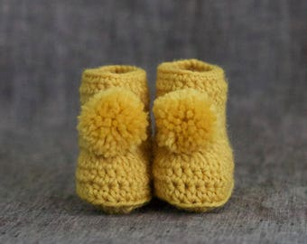 Crochet Baby Booties with Pompoms - Mustard Yellow Baby Shoes - Gender Neutral Baby Crib Shoes - Pom Pom Boots for Babies - 3 to 6 Months
