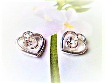 2 hearts silver 13 mm clear rhinestones
