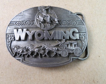 Wyoming State Belt Buckle Siskiyou Pewter Stagecoach Cheyanne Indian 1990