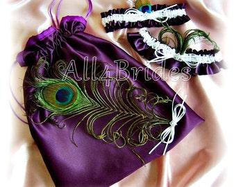 Peacock weddings bridal garters and drawsting bag, wedding money dance bag, eggplant purple weddings