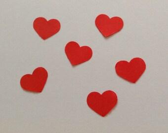 Red heart confetti, wedding confetti, table decor, engagement confetti, small heart, set of 100