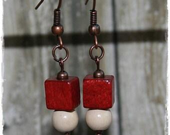 Small earrings pierced ears - ethnic - wood-