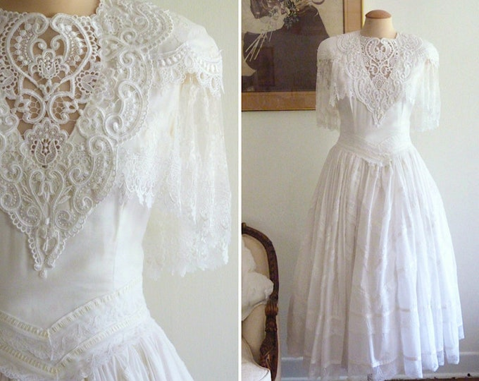 Jessica McClintock cotton and lace ballgown wedding dress