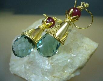 Green Amethyst Earrings - Prasiolite Earrings - Ruby Earrings - Fine Jewelry - Gold Earrings - Gift For Her