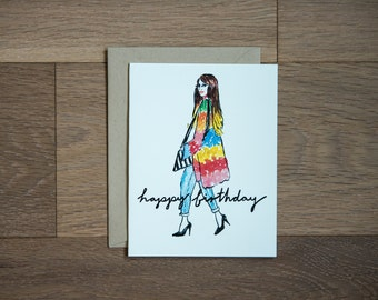 Birthday card - happy birthday - fashion - boho - party girl