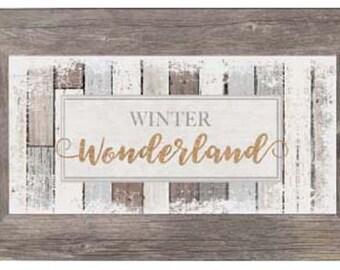 Winter Wonderland Christmas Snow Glitter Home Wood Nuetral Wood Restoration Decor Art Sign Framed Art