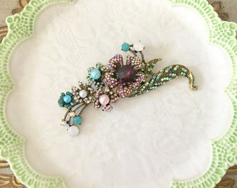 Crystal Flower Brooch.Rhinestone Flower Brooch.Multicolor Brooch.wedding dress Brooch.Vintage Inspired.aqua.purple.antique gold.bridal pin