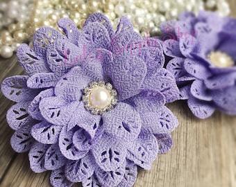"Set of Two - 3"" Lavender Blossom Scalloped Flower - Headband Supplies - Rhinestone Large Fabric Flowers - Wholesale Chiffon Fabric Flowers"