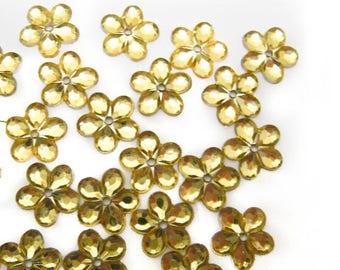 100 pcs Golden Yellow Floral Sew on Rhinestones - 1 hole